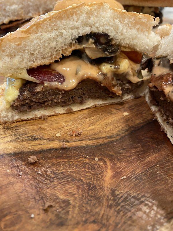 Juicy burger seasoned with Heath Riles Garlic Butter